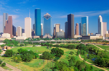 Foto op Textielframe Texas Houston, TX skyline in the afternoon with Memorial Park in foreground