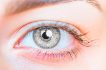Close-up beautiful girl eye with octagon glare in the eyes of the ring (octagon) flash