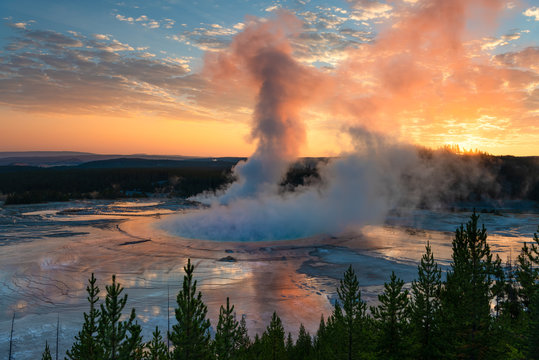 Grand Prismatic Spring Sunrise   Yellowstone National Park   WY