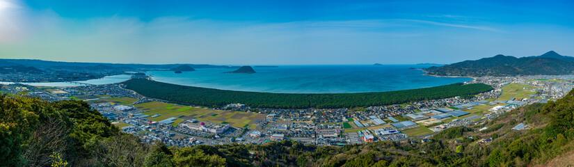 佐賀県、唐津市、鏡山から虹の松原のパノラマ写真