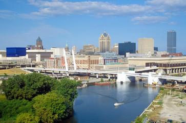 Milwaukee skyline with Menomonee River in foreground, WI
