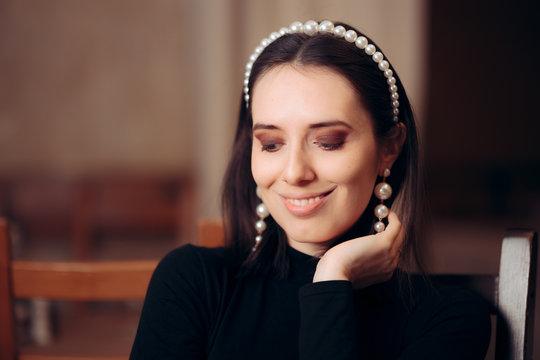 Portrait of an Elegant Woman Wearing Pearl Accessories
