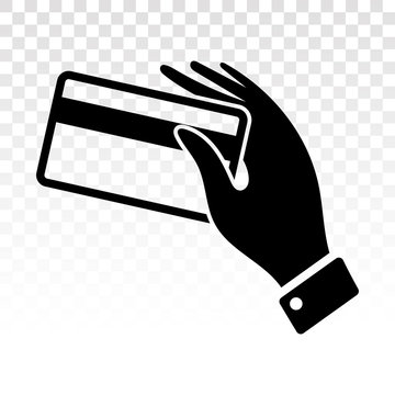 Swipe credit cards with human hand purchase flat icon for apps and websites