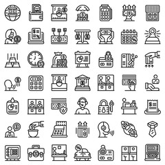 Bank teller icons set. Outline set of bank teller vector icons for web design isolated on white background