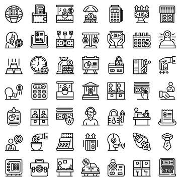 Bank teller icons set. Outline set of bank teller vector icons for web design isolated on white background