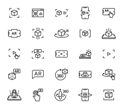 Augmented reality outline vector icons isolated on white background. AR and virtual reality line icon set for web design, mobile apps, ui design and print. Futuristic technology business concept