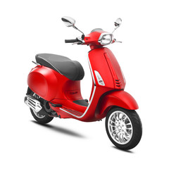 Fotorolgordijn Scooter Red Scooter Isolated on White Background. Side View of Vintage Electric Retro Motorcycle with Step-Through Frame and Platform. Modern Personal Transport. 3D Rendering. Classic Motor Vehicle