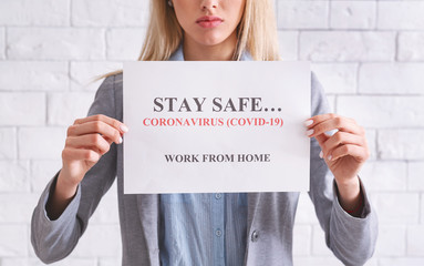 Stay safe, coronavirus COVID-19, work from home