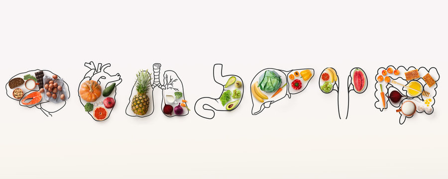Best menu for healthy body. Collage with outlines of human internal organs and wholesome foods on white background