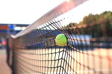 Fototapeta Bright greenish yellow tennis ball hitting the net. obraz