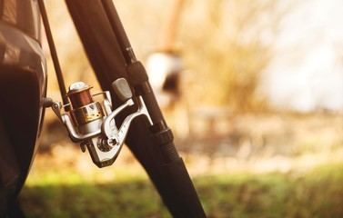 Photo sur Toile Chasse fishing rod with reel isolated. spin fishing sport background