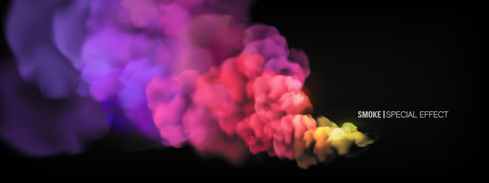 Realistic multi-colored smoke on a black background. Colored smoke bombs. isolated fog or smoke, transparent special effect. Bright magic cloud, fog or smog. Abstract illustration for the design