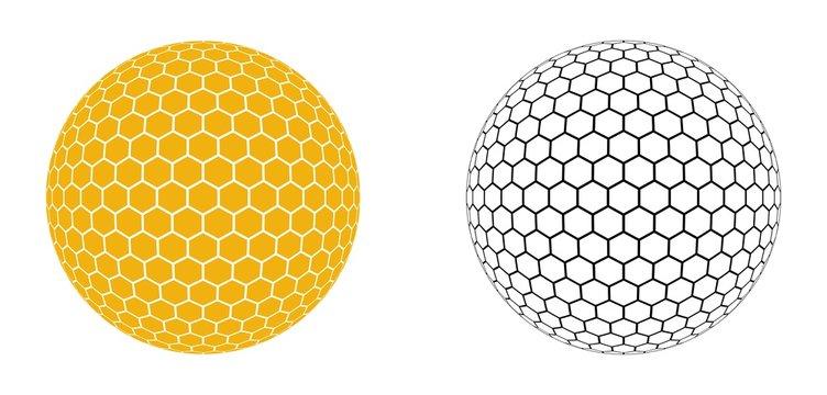 Hexagonal Honeycomb Pattern in Circle Shape Vector