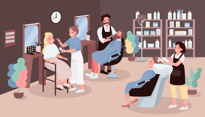 Hairdressing salon flat color vector illustration. Man cutting beard. Hairdresser washing woman's hair. Artist apply make up. Stylists 2D cartoon characters with beauty salon furniture on background