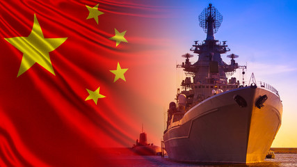 Combat duty of Chinese ships. Ship and submarine on the background of the flag of China. The...