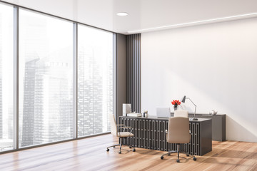 Gray and white CEO office corner