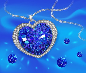 Blue gemstone sapphire in the shape of a heart. Vector illustration.
