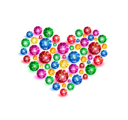 Colorful gems in the shape of heart on white background. Vector illustration.