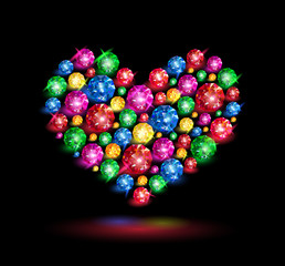Colorful gems in the shape of heart on black background. Vector illustration.