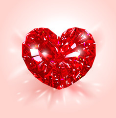 Beautiful realistic Red heart shaped ruby gemstone on a light  background. Diamond. Vector illustration.