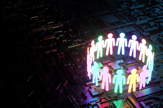 inclusion, a working group of five multi-colored icons of a human worker on a dark background. team building, cultural diversity, staffing decisions. 3D rendering, 3D illustration, copy space.