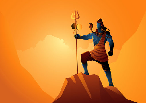 Lord Shiva standing on top of a rock