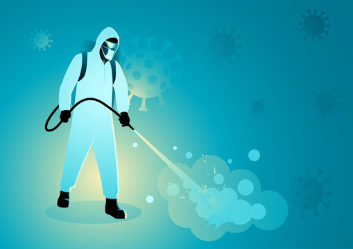 Man in protective suit spraying disinfectant to cleaning and disinfect virus