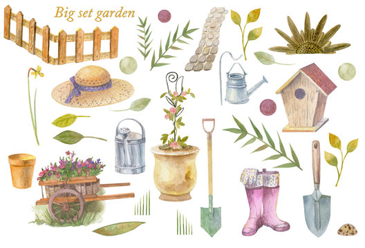 Big watercolor set with garden accessories on a white background.