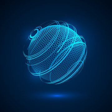 Abstract tecjnology hologram sphere. sci fi neon sphere. Futuristic digital background. HUD element or cyber globe. Vector
