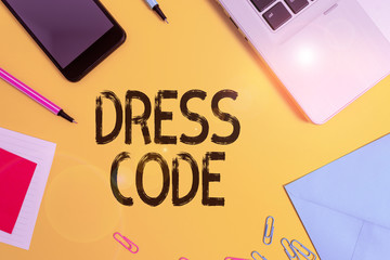 Conceptual hand writing showing Dress Code. Concept meaning an accepted way of dressing for a...
