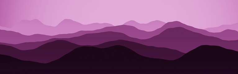 Fotorollo Flieder cute pink panoramic image of mountains peaks in clouds digital drawn texture or background illustration