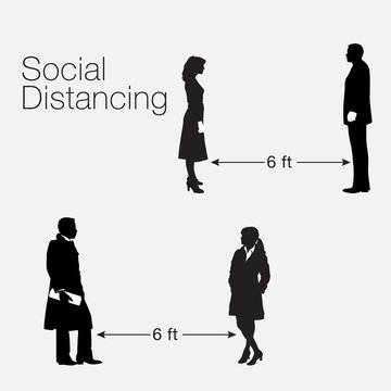 A social distancing graphic with realistic silhouettes  A graphic that addresses the corona virus.
