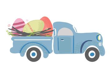 Simple cute vintage truck carrying Easter eggs Fototapete