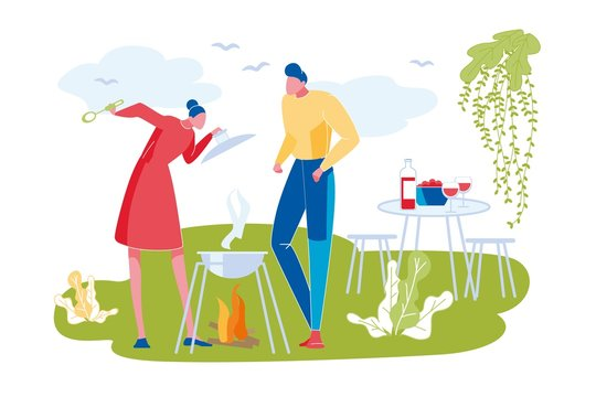 Woman and Man Standing near Barbecue Grill Outdoor above Bonfire. Cooking on Open Air on Park, Garden or Meadow. Family Relax. Table with Bottle of Wine and Plate on Background. Modern Flat Vector