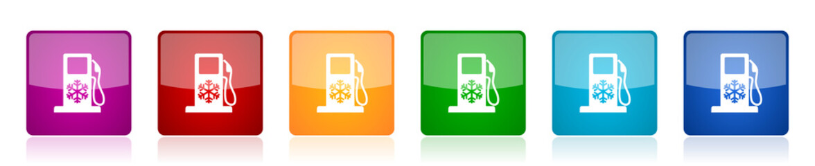 Winter fuel icon set, colorful square glossy vector illustrations in 6 options for web design and mobile applications