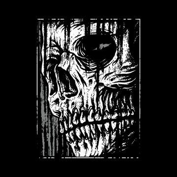 Skull horror graphic illustration vector art t-shirt design