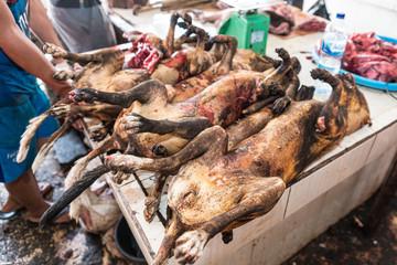 Fleisch, Markt, Hunde Fotobehang