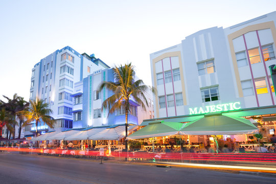 South Beach, Miami, Florida, United States - Hotels, bars and restaurants at Ocean Drive in the famous Art Deco district.