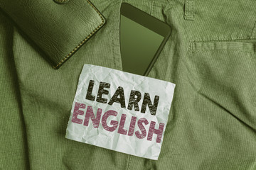 Word writing text Learn English. Business photo showcasing gain acquire knowledge in new language...