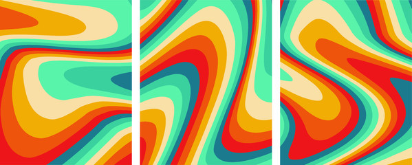 Retro colorful abstract art template set,vector