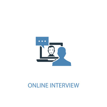online interview concept 2 colored icon. Simple blue element illustration. online interview concept symbol design. Can be used for web and mobile UI/UX