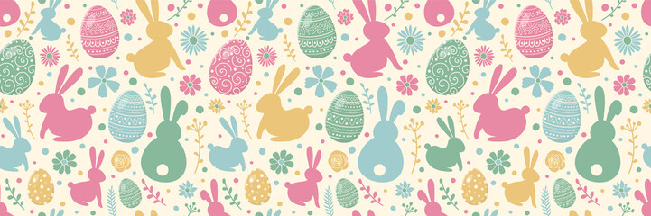 Printed roller blinds Pattern Easter concept with colourful eggs, bunnies and flowers. Seamless pattern. Banner. Vector