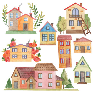 watercolor set, fairytale houses in pastel colors, flowers and trees,   isolate on a white background