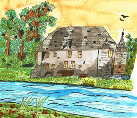 Old Castle, Hand Drawn Ink and Water Color Painting
