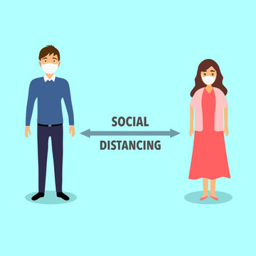 Social distancing concept vector illustration. Man and woman are standing away to prevent Covid-19 Coronavirus disease. Idea for Coronavirus outbreak, prevention and awareness.