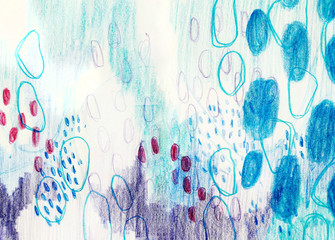 Foto op Textielframe Vlinders in Grunge Abstract Artwork - Blue Background Image Of Organic Shapes