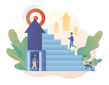 Efforts to achieve target. The metaphor different ways to achieve the goal. Tiny people choose a ladder or an elevator to success. Modern flat cartoon style. Vector illustration on white background
