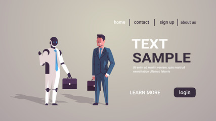 Wall Mural - businessman standing with robotic character human vs robot business automation artificial intelligence technology concept horizontal copy space full length vector illustration