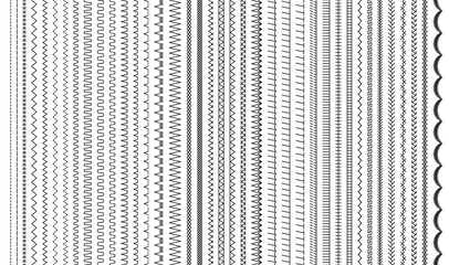 Sewing stitches. Embroidery seams seamless pattern. Vector. Set of machine thread sew brushes. Overlock zigzag elements. Line border isolated on white background. Simple graphic illustration.