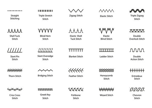 Sewing stitches. Embroidery seams. Vector. Set of machine thread sew brushes. Overlock zigzag seamless elements. Simple graphic illustration. Line border isolated on white background.